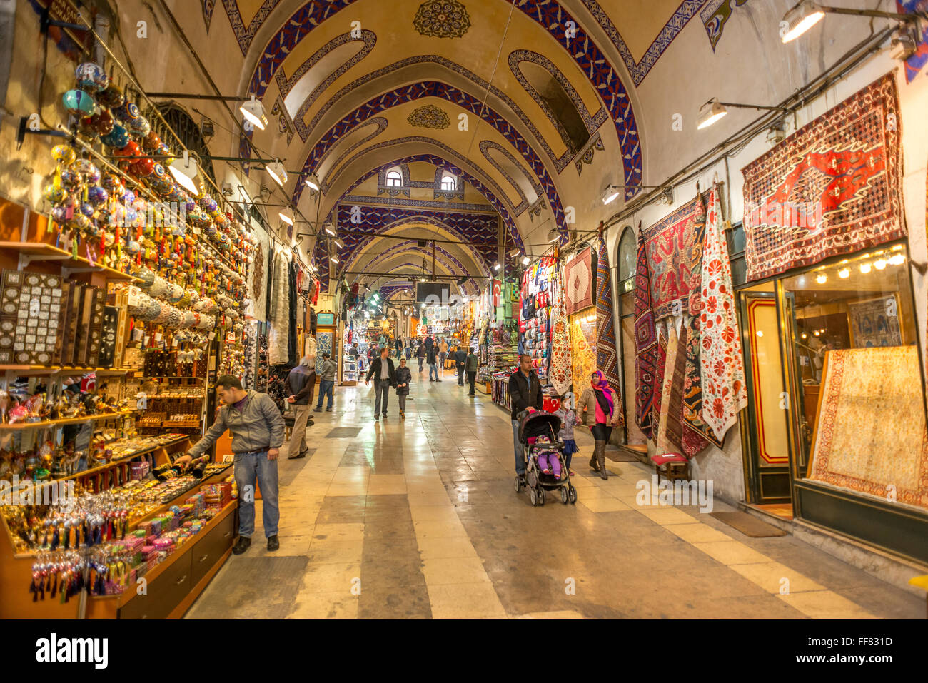 Inside the Grand Bazaar of Istanbul, Turkey, one of the largest and oldest covered markets in the world. - Stock Image