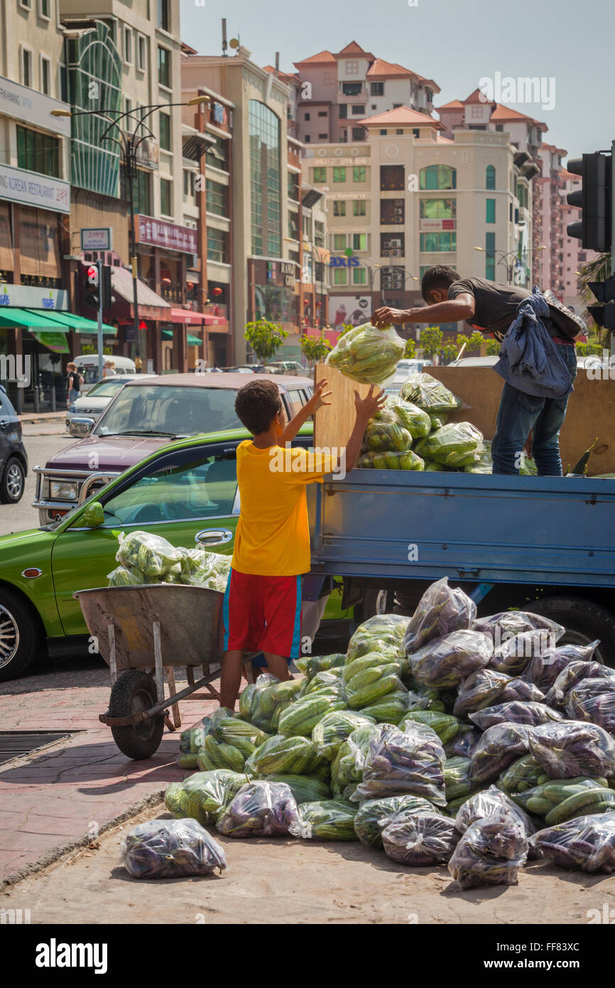 Two boys unloading fresh vegetables for the market in Kota Kinabalu, Sabah, Malaysia Borneo - Stock Image