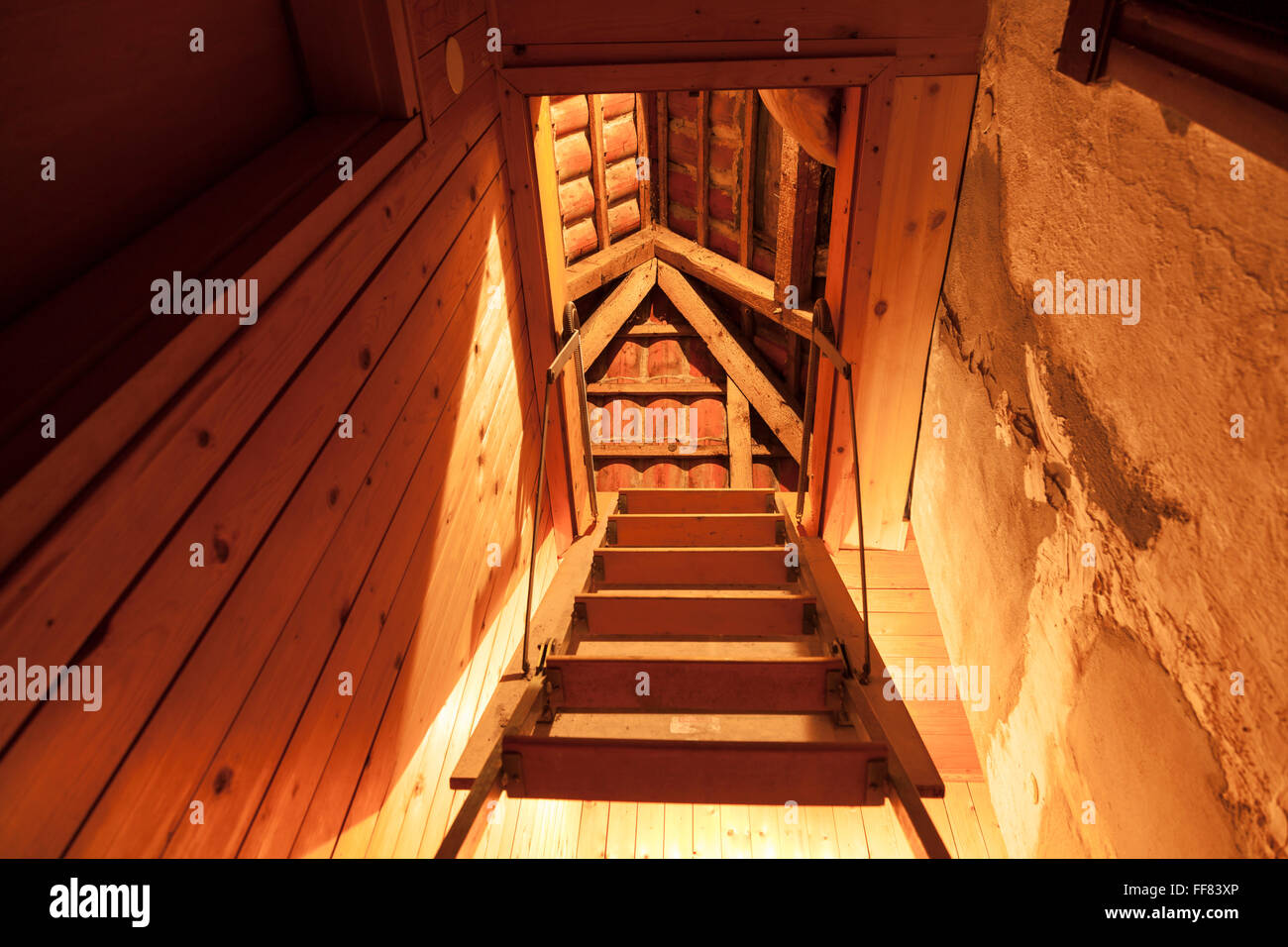 stairs to attic - Stock Image