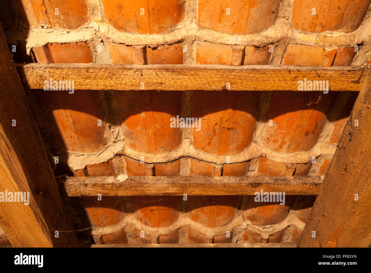 tiles on a roof from attic - Stock Image