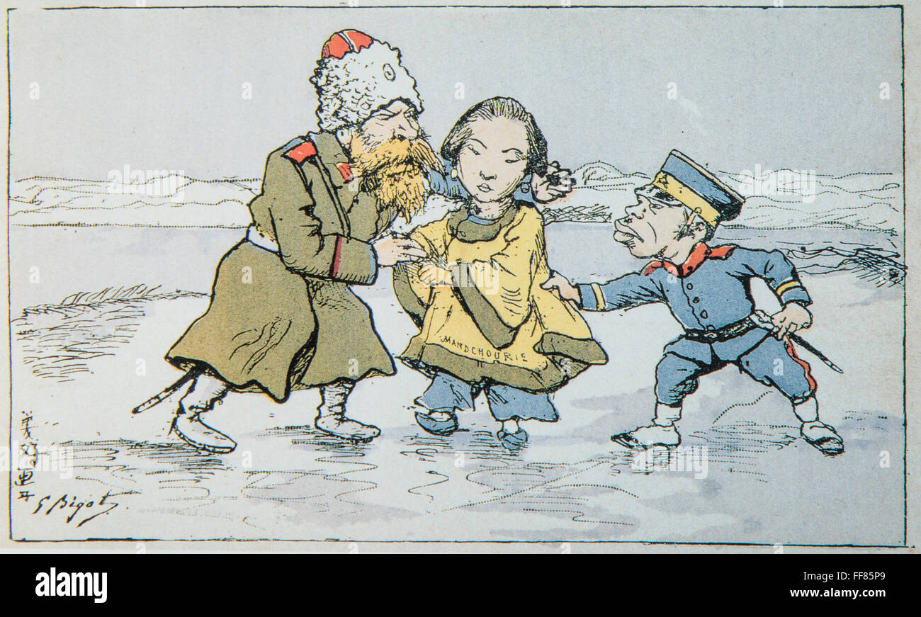 Caricature of Georges Ferdinand Bigot (1860-1927) Japan and Russia,fight for China. Russo-Japanese War. - Stock Image