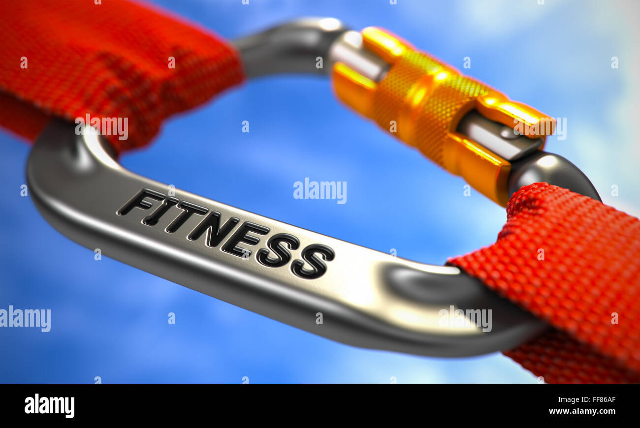 Chrome Carabiner Hook with Text Fitness. - Stock Image