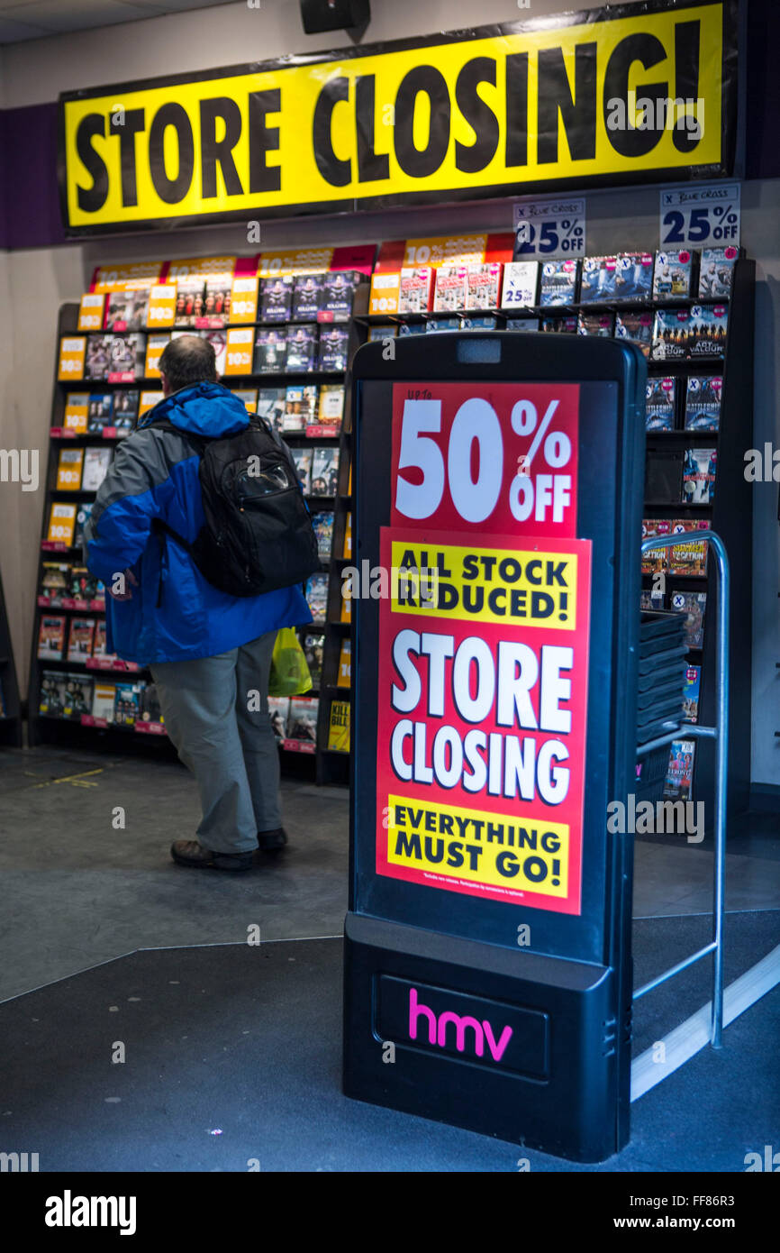 A sale sign at the shop entrance of an HMV music store near Bank, central London, United Kingdom. Due to the economic - Stock Image