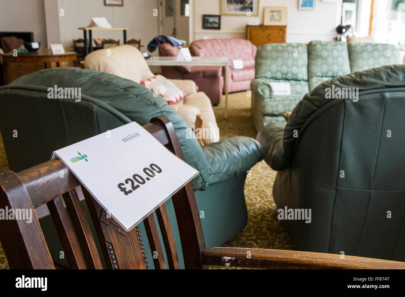 Picture of: Furniture For Sale In The Storehouse Second Hand Charity Shop In Stock Photo Alamy