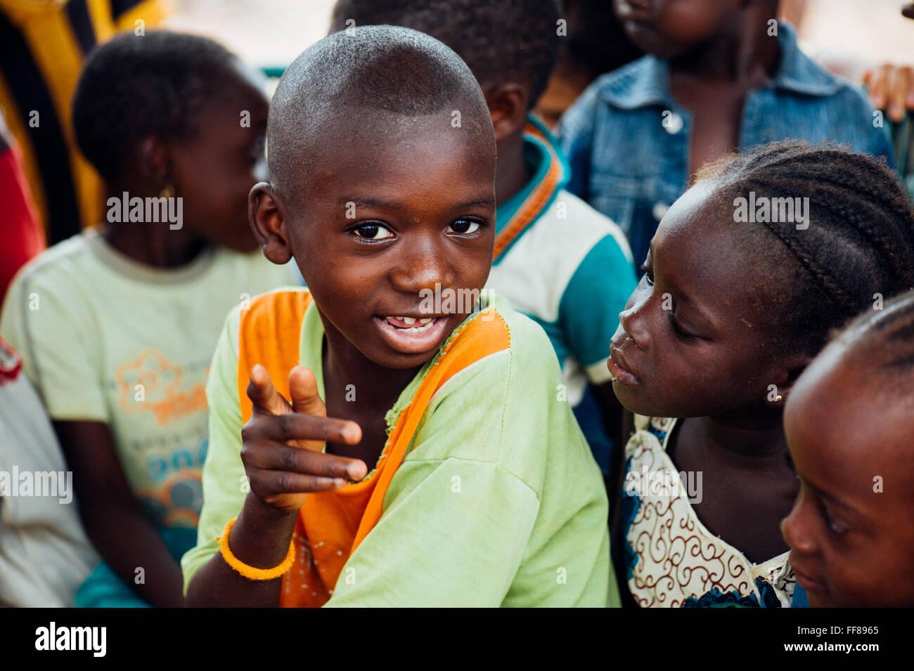 Mali africa black african children near bamako having fun in the classroom stock