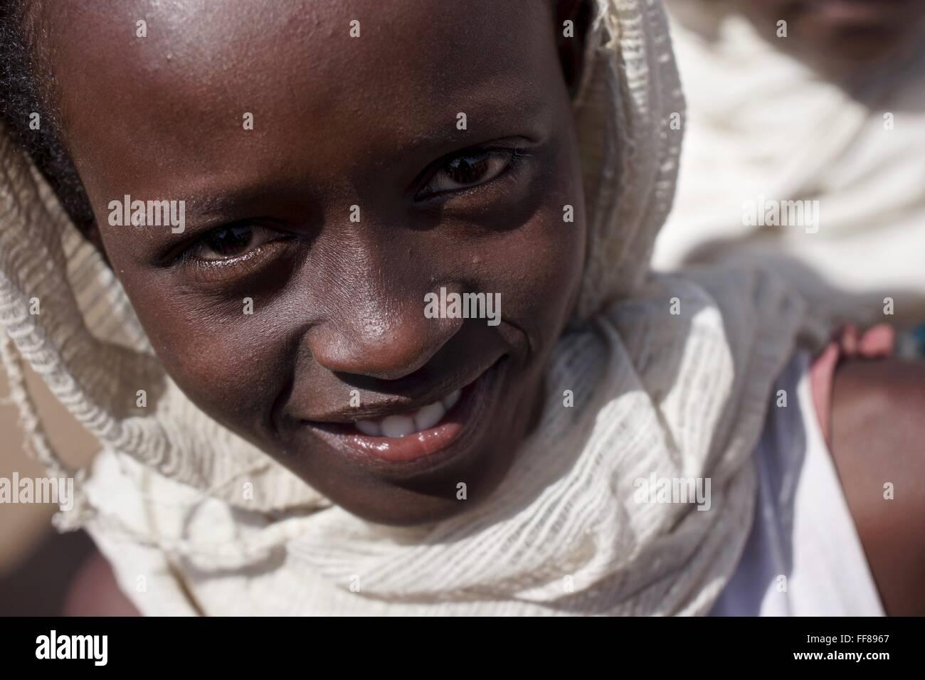 A girls at an Orthodox Christian Epiphany celebration in Ethiopia. Stock Photo