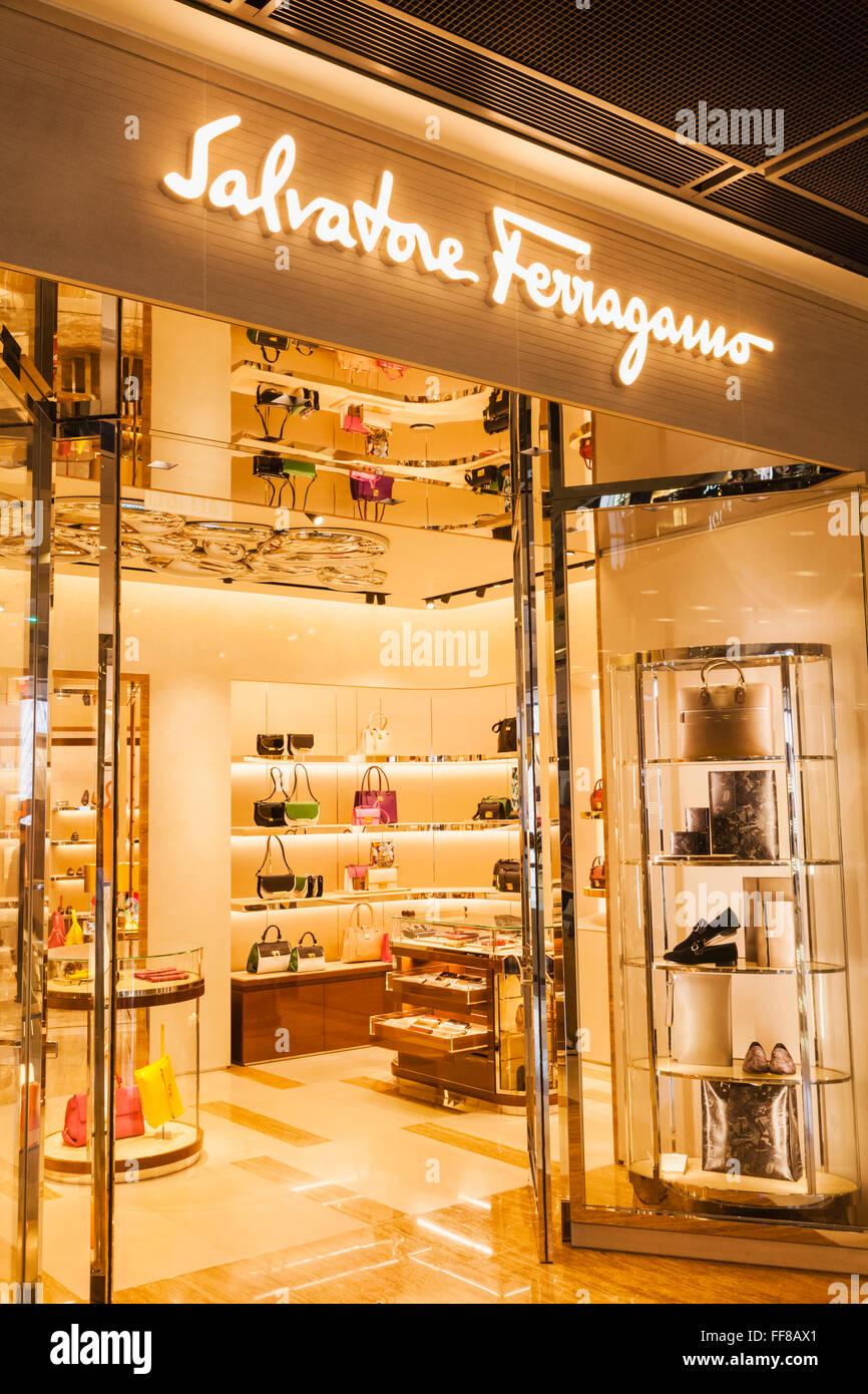 China, Hong Kong, Central, IFC Shopping Mall, Salvatore Ferragamo Store - Stock Image