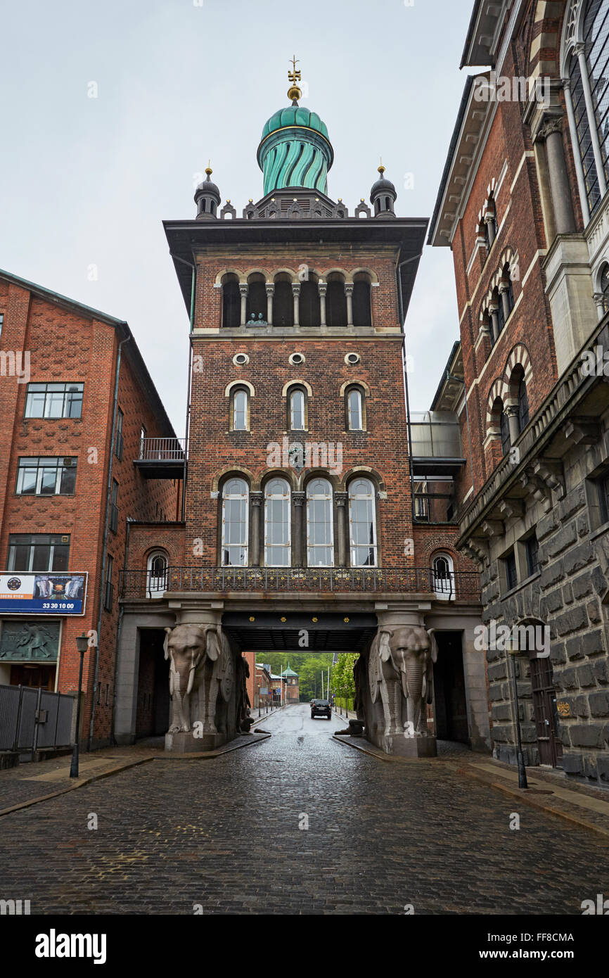 Copenhagen the Carlsberg Brewery Elephant port entrance Jacobsen brewery - Stock Image