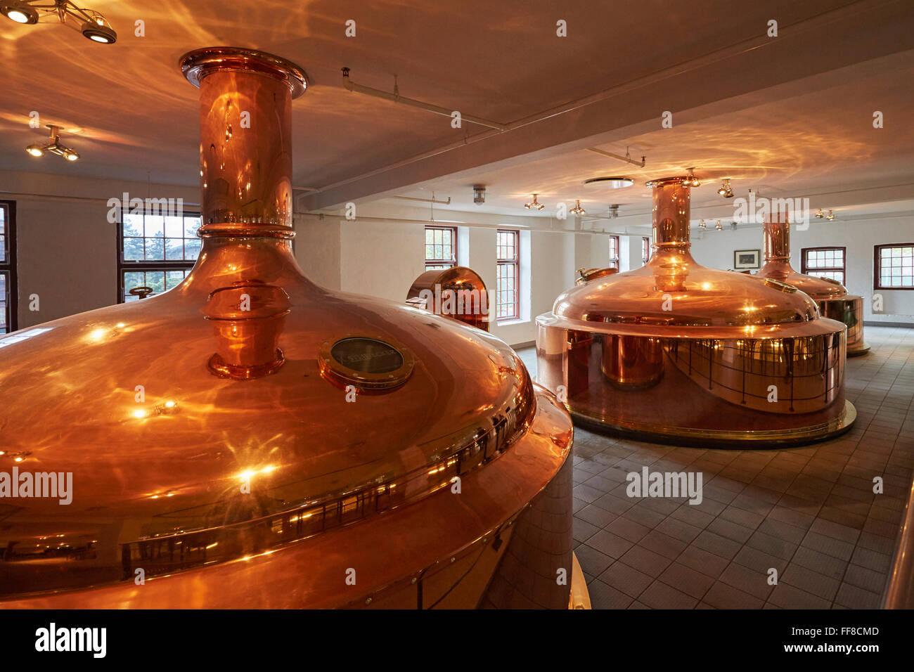 Copenhagen the Carlsberg Brewery museum copper brewing tanks - Stock Image