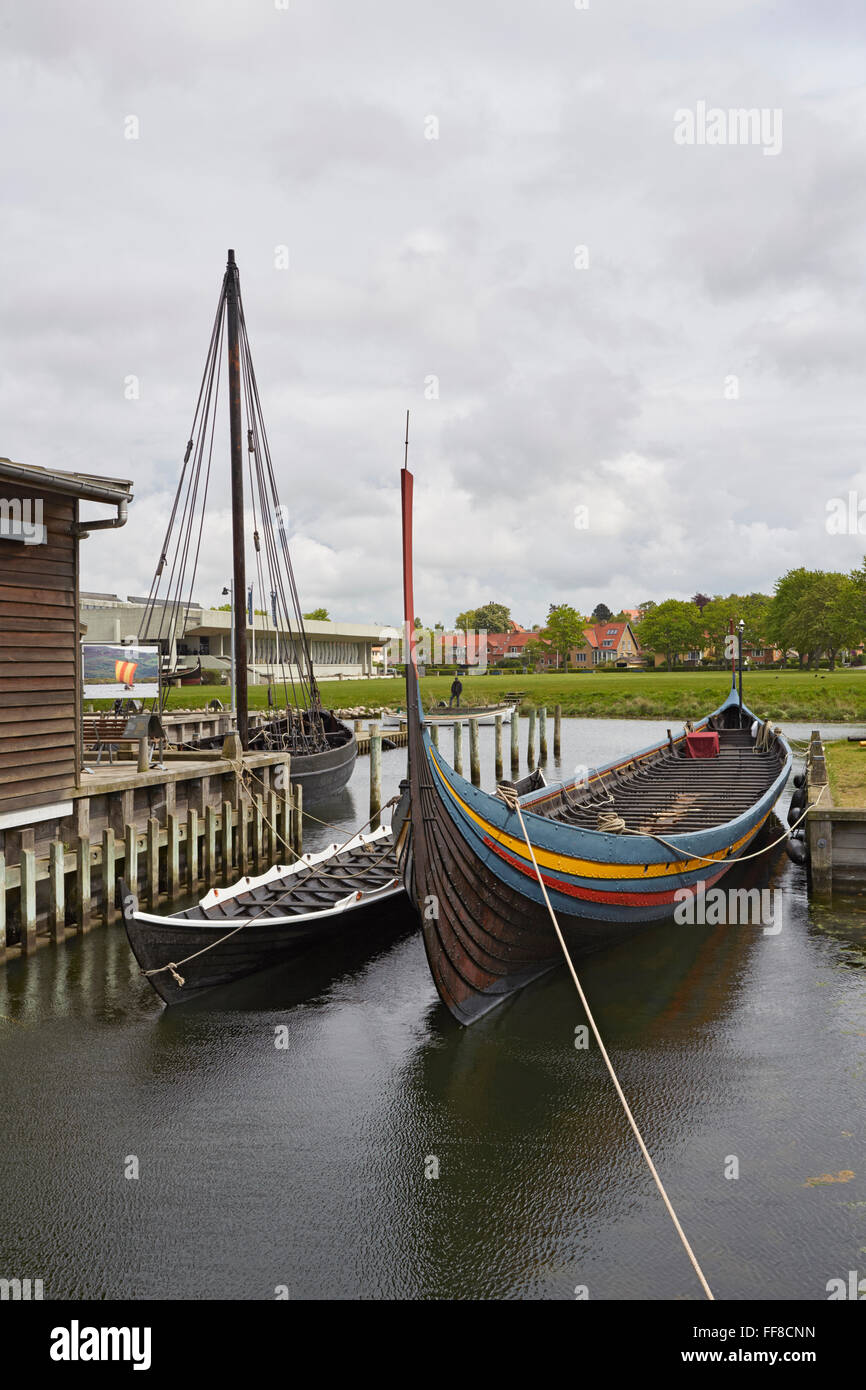 Roskilde replica Viking ship the Sea Stallion moored at the Viking ship museum - Stock Image