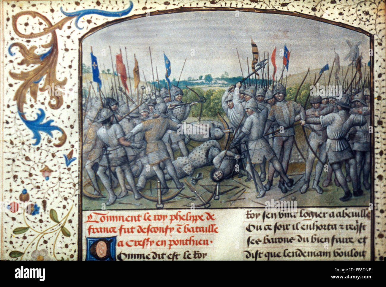 THE BATTLE OF CRECY, 1346. /nFlemish manuscript illumination, 1477.