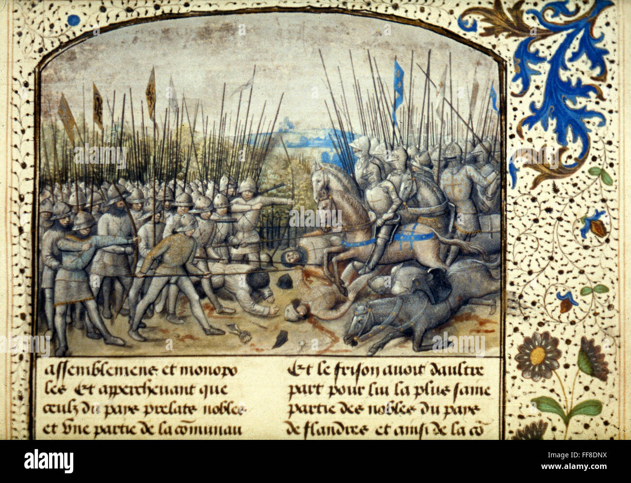 /nRobert the Frisian's infantry fighting Anglo-Normans at Battle of Cassel,  1071. Flemish manuscript illumination, 1477.