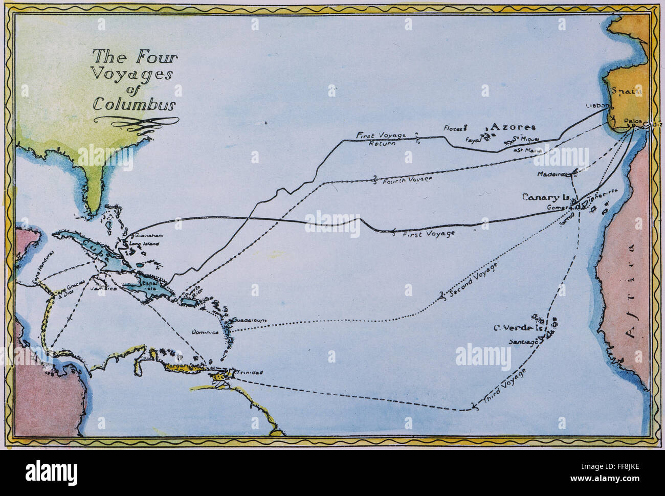 Map Of The World Before Columbus.Columbus Map 15th Century Nmap Of The Four Voyages Made By Stock