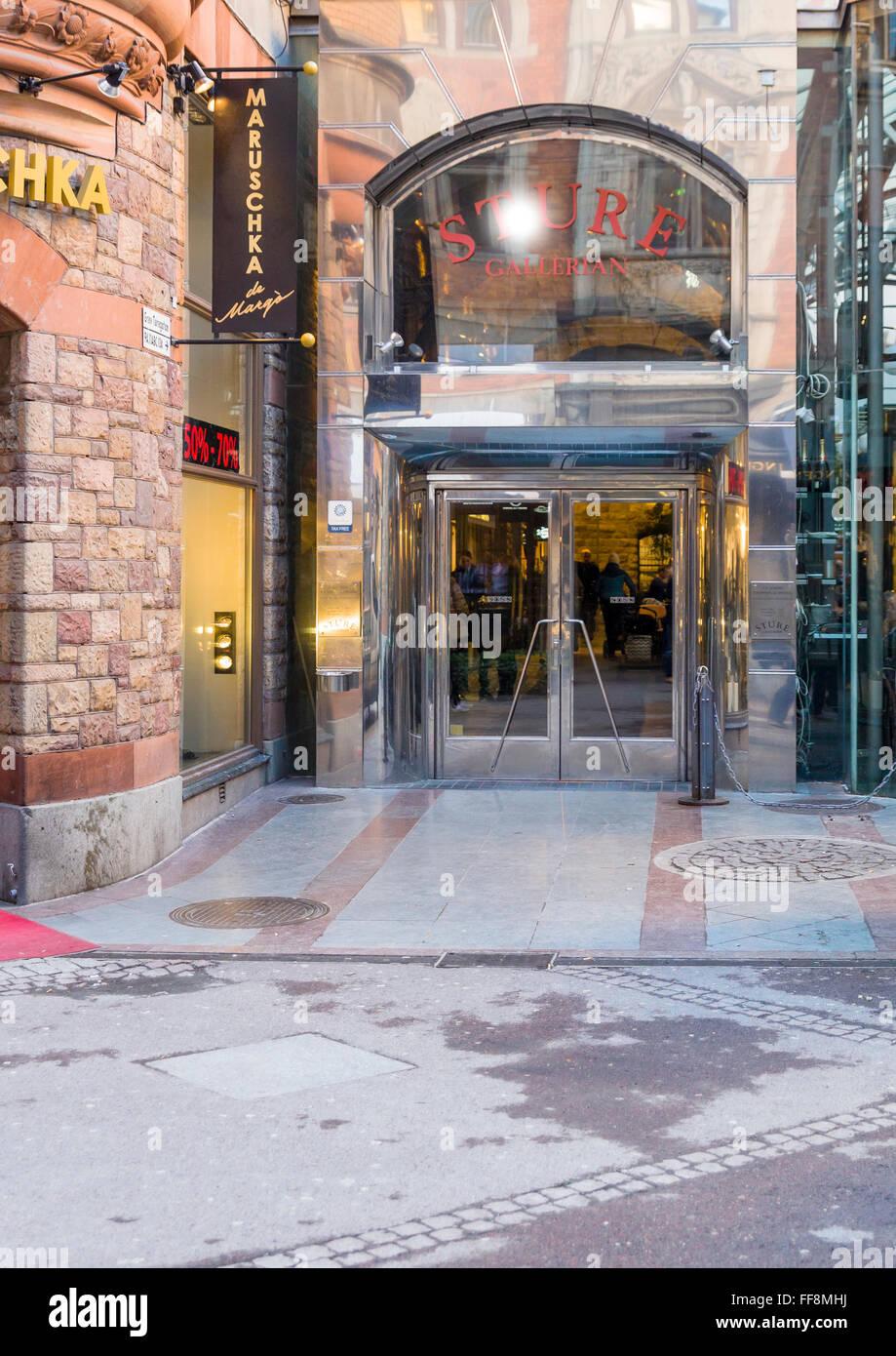 Entrance to Sturegallerian from Grev Turegatan in Östermalm in Stockholm, Sweden  Model Release: No.  Property - Stock Image
