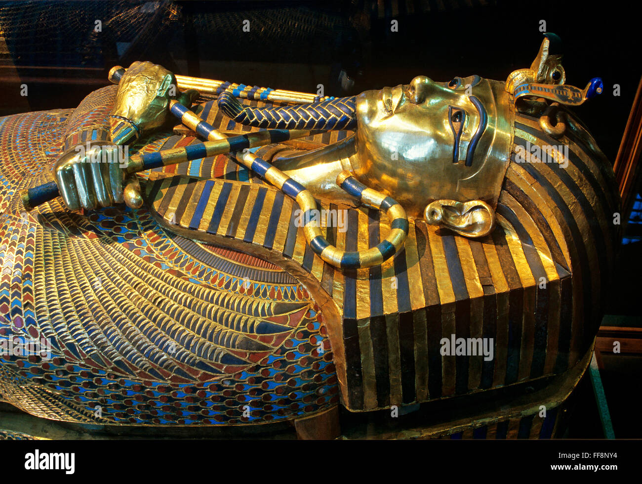 Sarcophagus of Tutankhamun, 14th century BC, Museum of Egyptian Antiquities, Cairo, Egypt, Africa - Stock Image