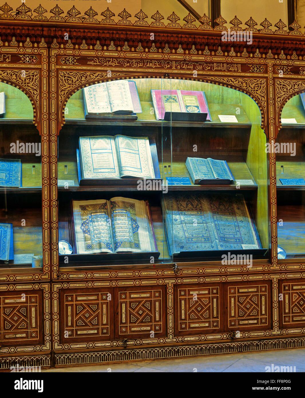 Showcase with old books of the Koran, Islamic art museum, Cairo, Egypt, Africa - Stock Image