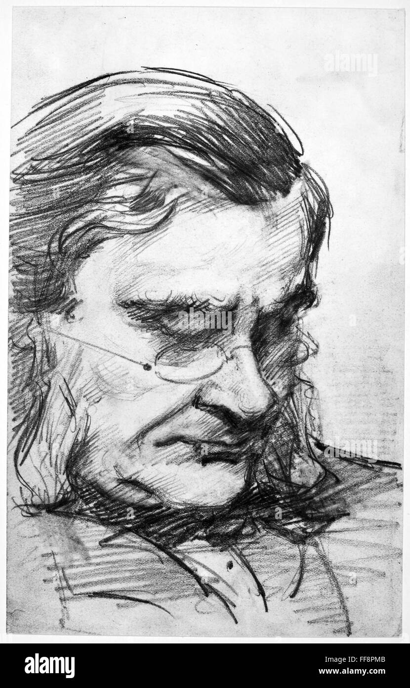 Thomas h huxley 1825 1895 nenglish biologist pencil drawing by his daughter marian huxley collier