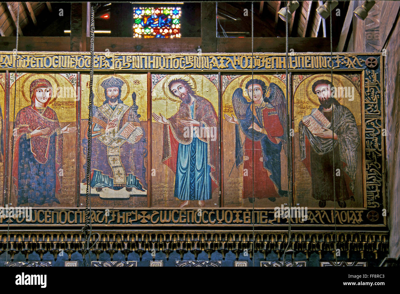 The Hanging Church - Muallaqa, Holy Icons, 3rd century  Cairo, Egypt, Africa Stock Photo