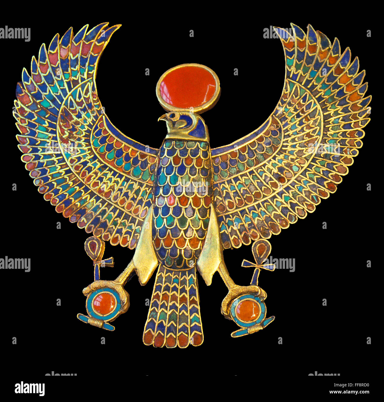 Pectoral jewel, Gold falcon, Tutankhamun's treasure, Museum of Egyptian Antiquities, Cairo, Egypt, Africa - Stock Image
