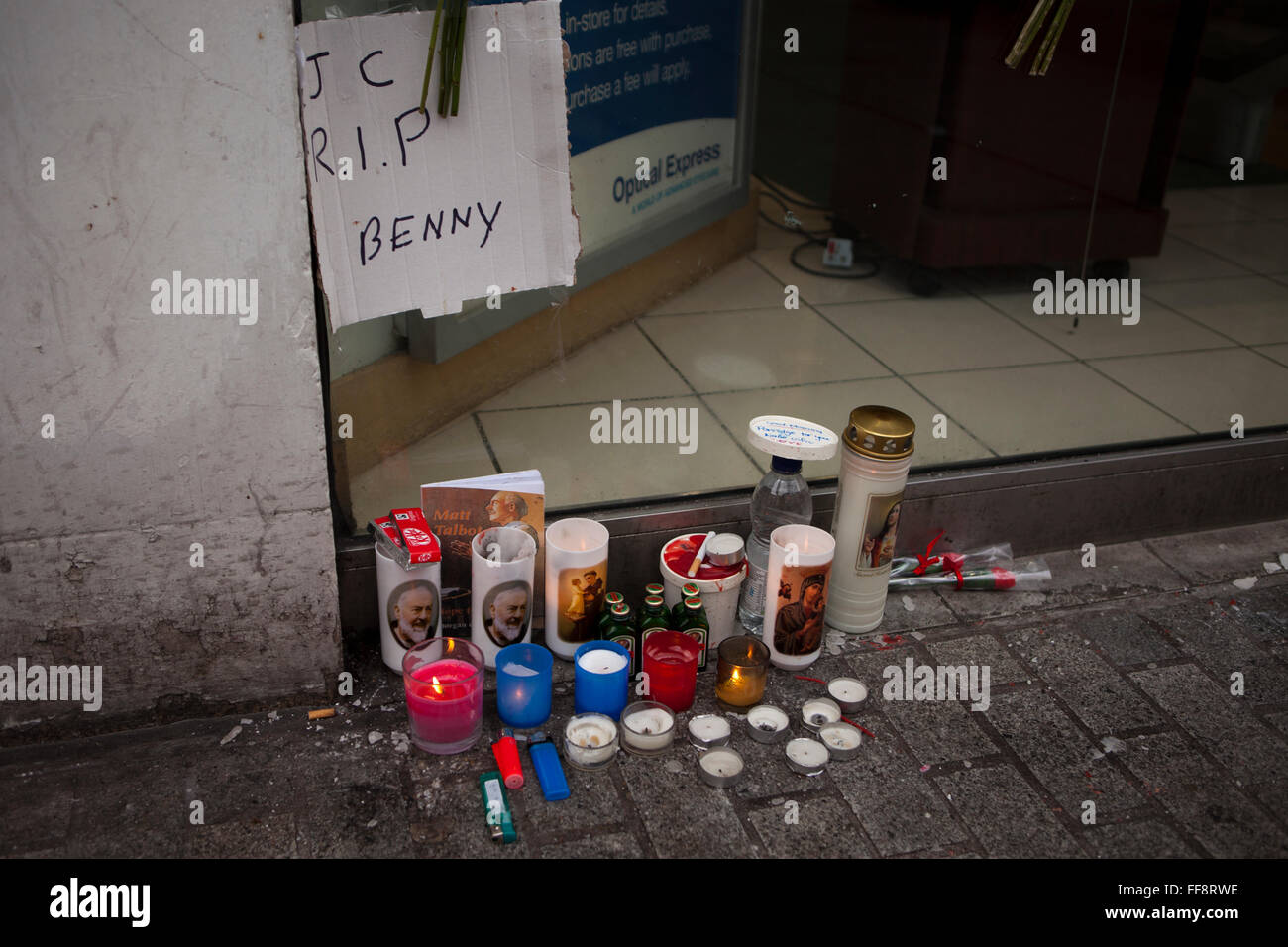 Donegall place, Belfast, 11th February 2016. The  spot where Homeless Belfast man 'Jimmy' died early on - Stock Image
