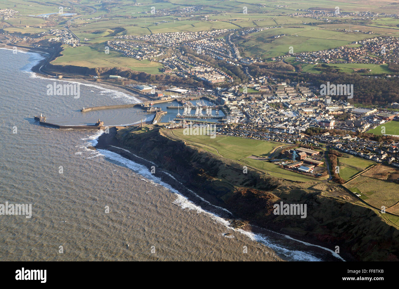 aerial view of the coast in Cumbria at Whitehaven, UK - Stock Image