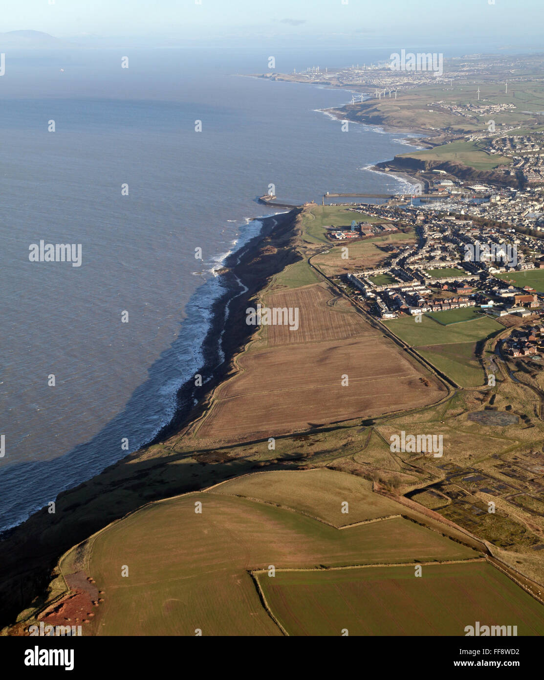 aerial view of the Cumbrian coast near Whitehaven, Cumbria, UK - Stock Image