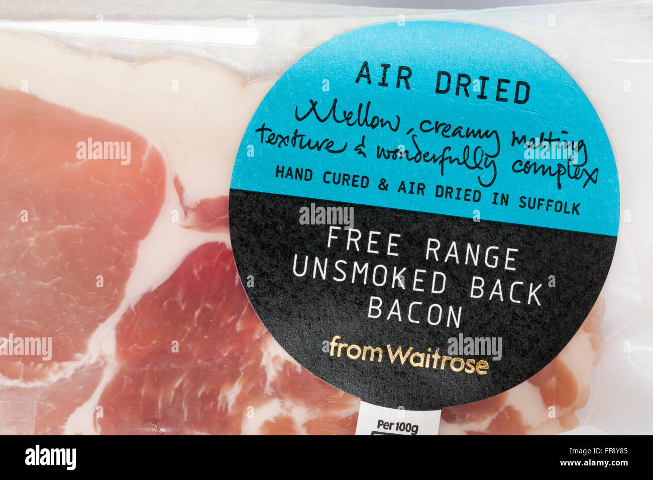 pack of Air dried free range unsmoked back bacon from Waitrose - Stock Image
