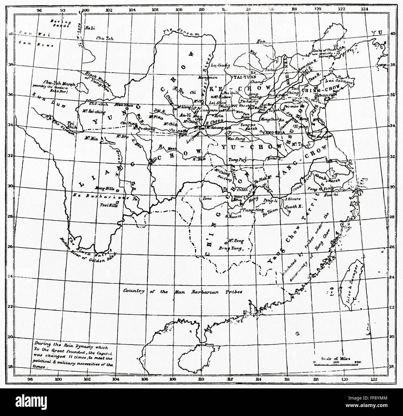 A map of China under the Hsia Dynasty, 2205 BC. - Stock Image