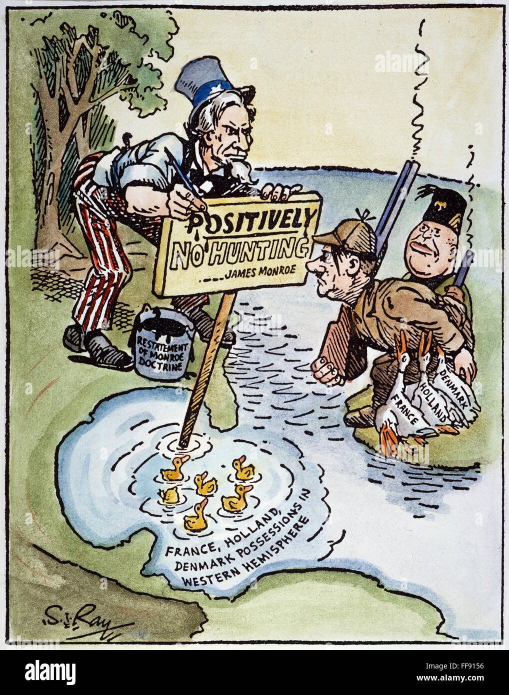 the monroe doctrine Monroe doctrine summary: the monroe doctrine was first stated by the fifth american president james monroe during the state of the union address to congress his seventh in a row on december 2, 1823 the napoleonic wars served as the inspiration for the monroe doctrine.