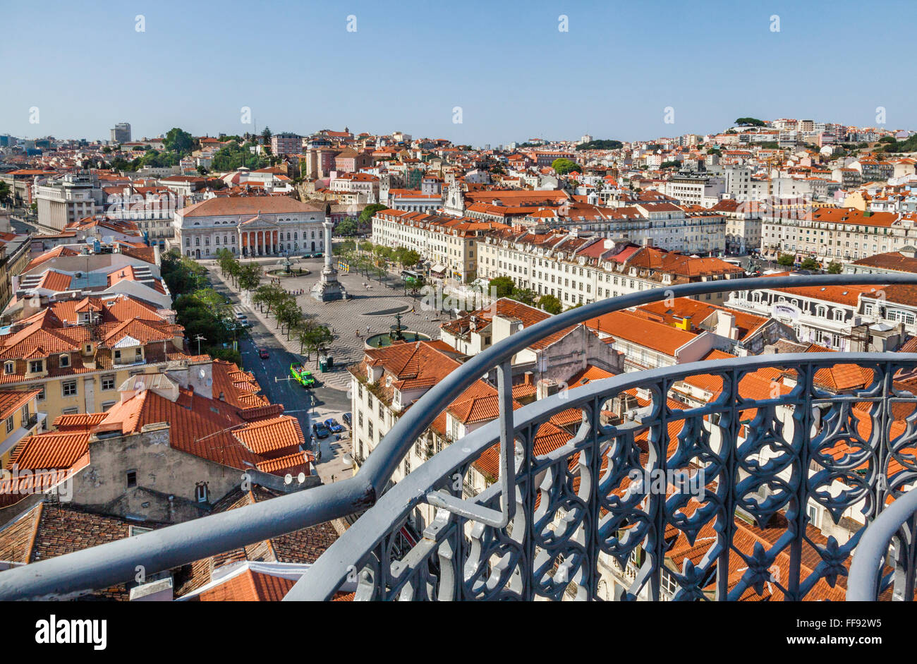 Portugal, Lisbon, view of Pedro IV Square from the upper level terrace of Santa Justa Lift - Stock Image