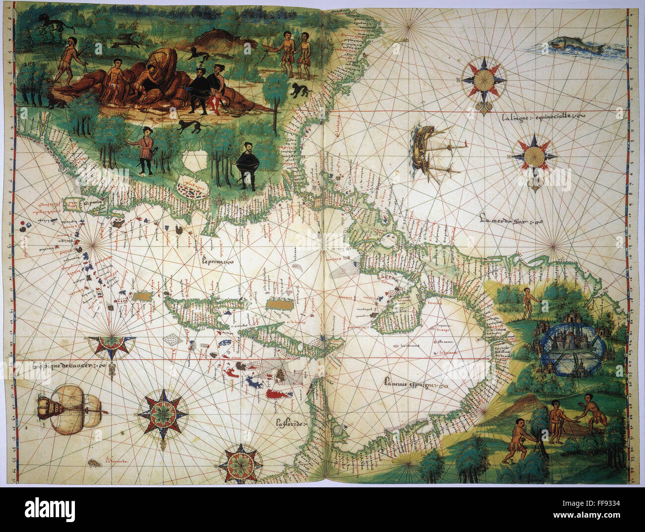 New world map 1547 nmap of the west indies and central american new world map 1547 nmap of the west indies and central american from the vallard atlas c 1547 the map drawn upside down as if viewed from europe gumiabroncs Image collections