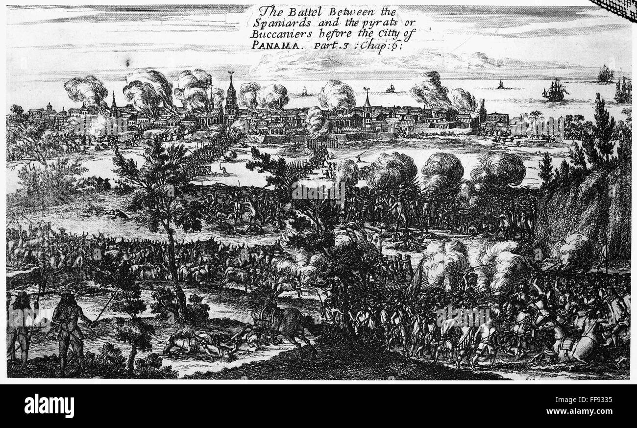 PANAMA CITY RAID, 1671. /n'The Battle Between the Spaniards and the pyrats or Buccaniers before the City of Panama.' Stock Photo