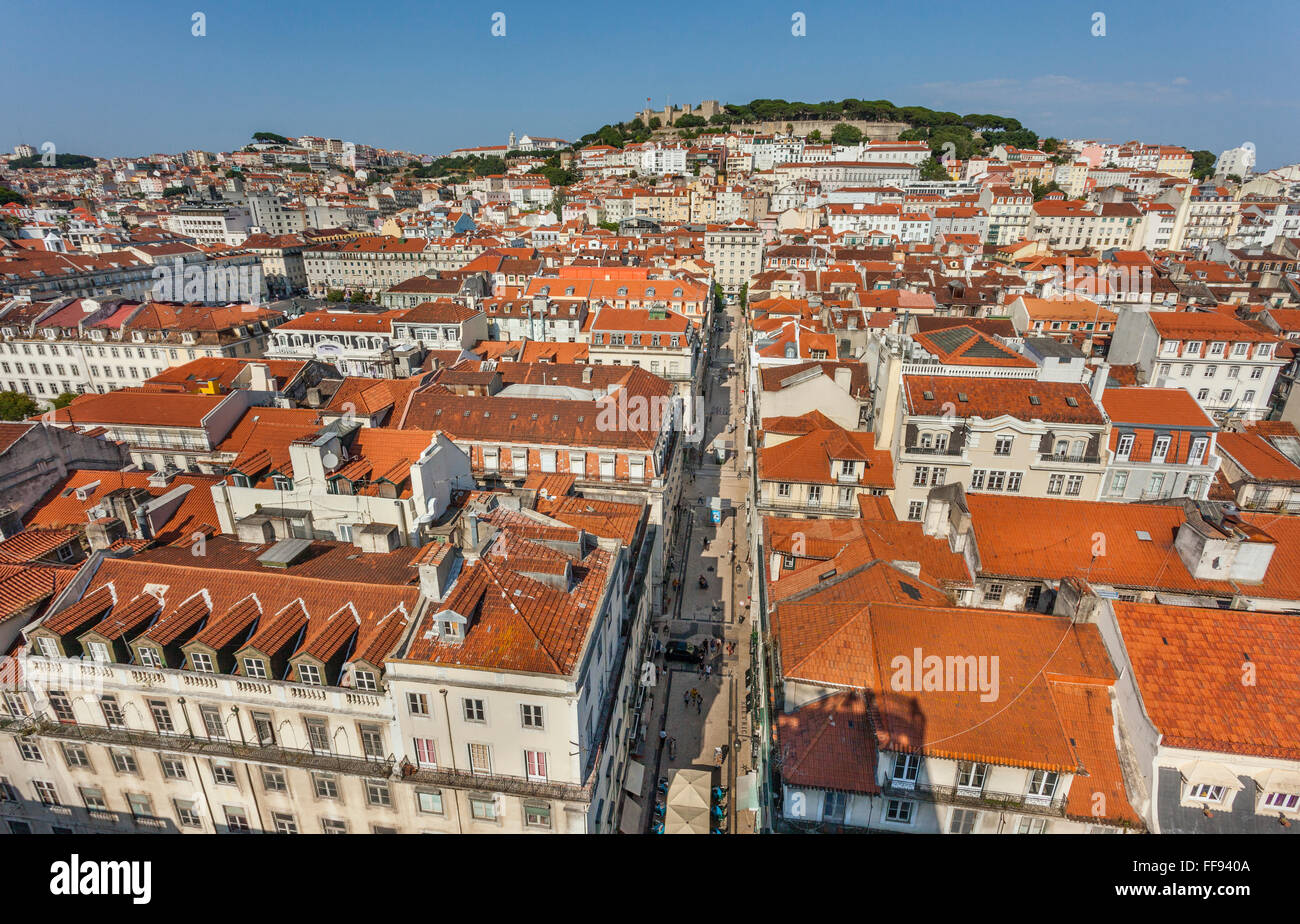 Portugal, Lisbon, view over the roofs of Baixa Pombalina from the observation platform of Santa Justa lift - Stock Image