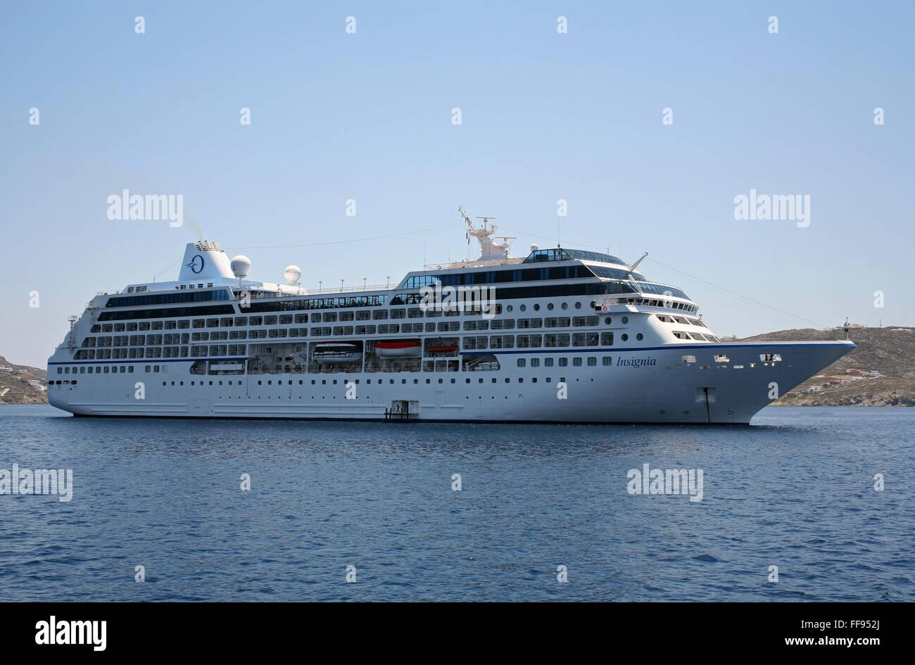 MS Insignia Oceania Cruises Regatta Class Cruise Ship Mykonos Harbor Cyclades Aegean Sea Greece EU European Union - Stock Image
