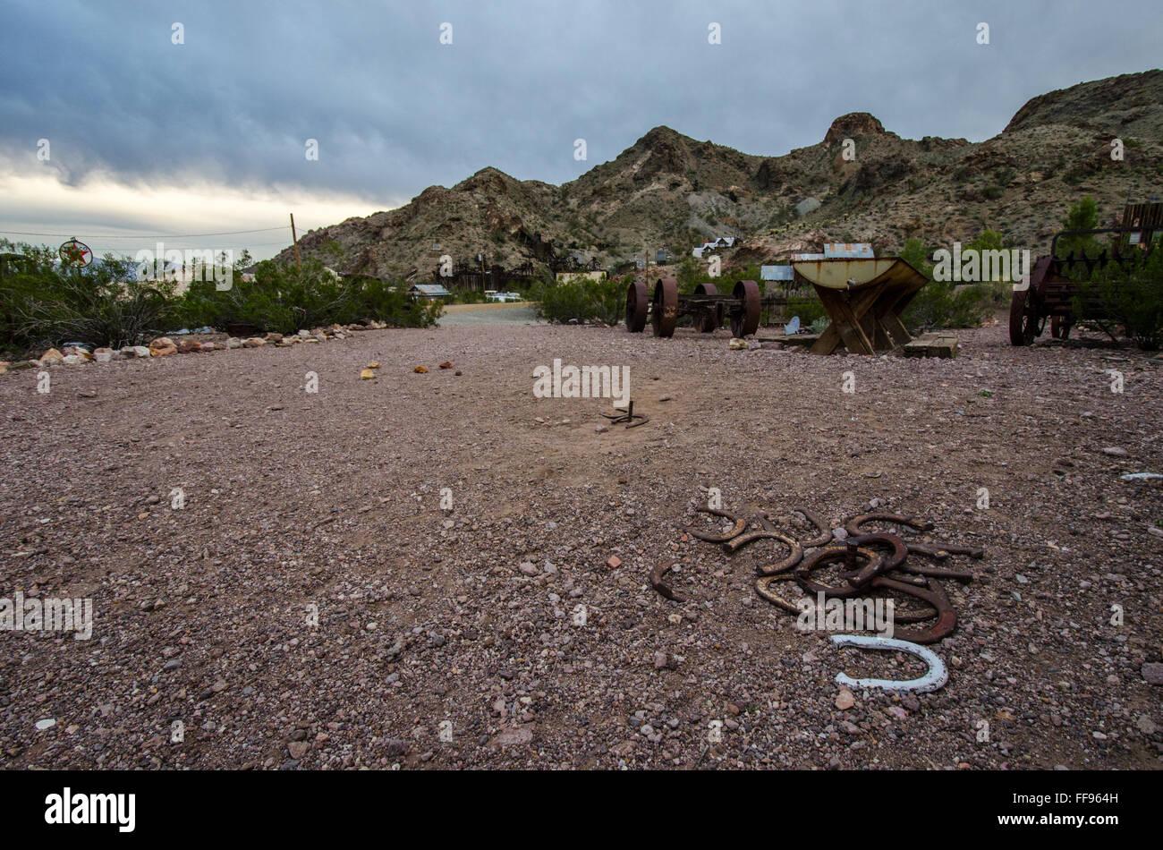 Horseshoe games in Eldorado Mining Town, Las Vegas Nevada. USA United States of America - Stock Image