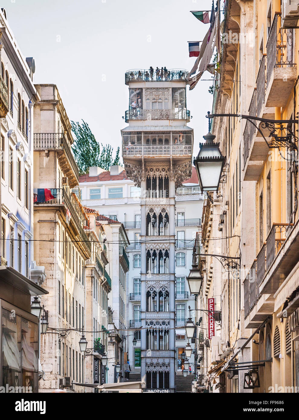 Portugal, Lisbon, Pombaline Downton, view of originally in 1874 built Santa Justa Lift in Neo-Gothic style - Stock Image
