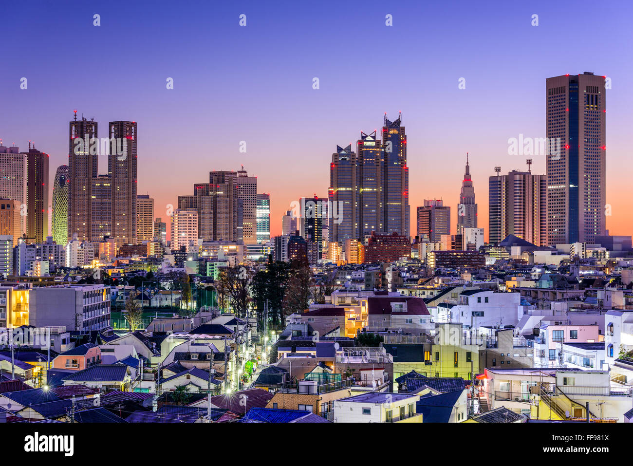 Tokyo, Japan city skyline at the West Shinjuku Financial District. Stock Photo