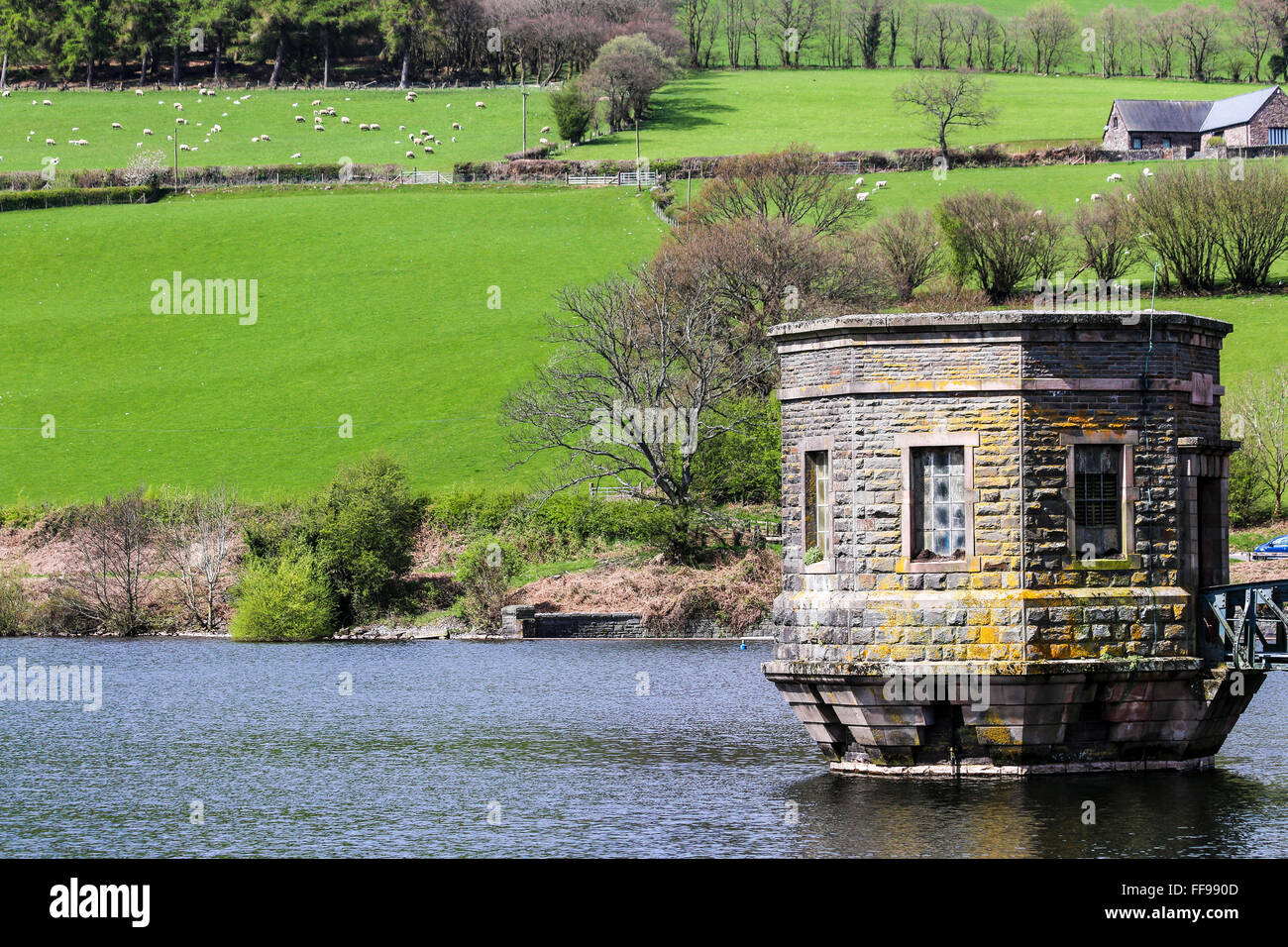 Water tower, Talybont  Reservoir, Talybont,-on-Usk, Powys,  Wales - Stock Image