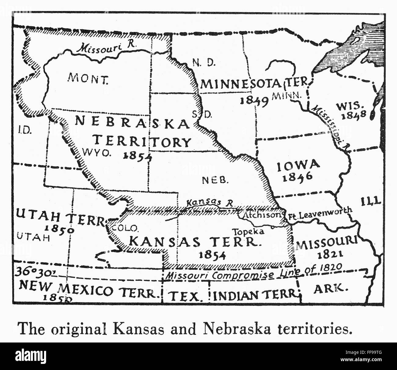 KANSAS-NEBRASKA MAP, 1854. /nDetail of a map of the United States ...