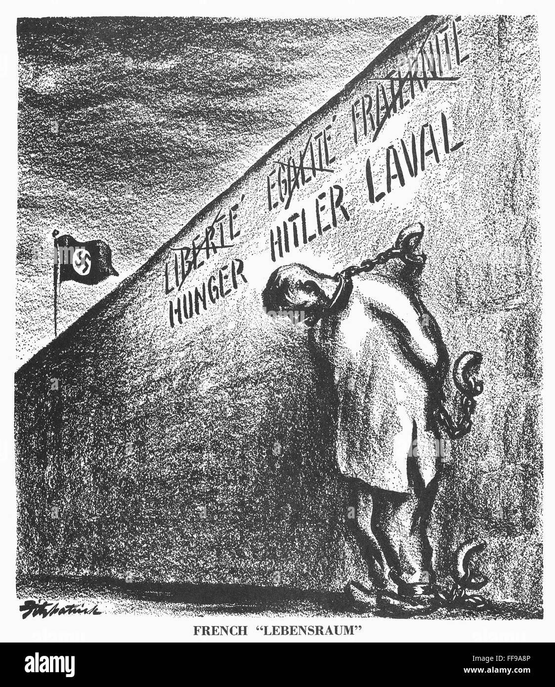 Cartoon Lebensraum 1940 Nfrench Lebensraum American Cartoon