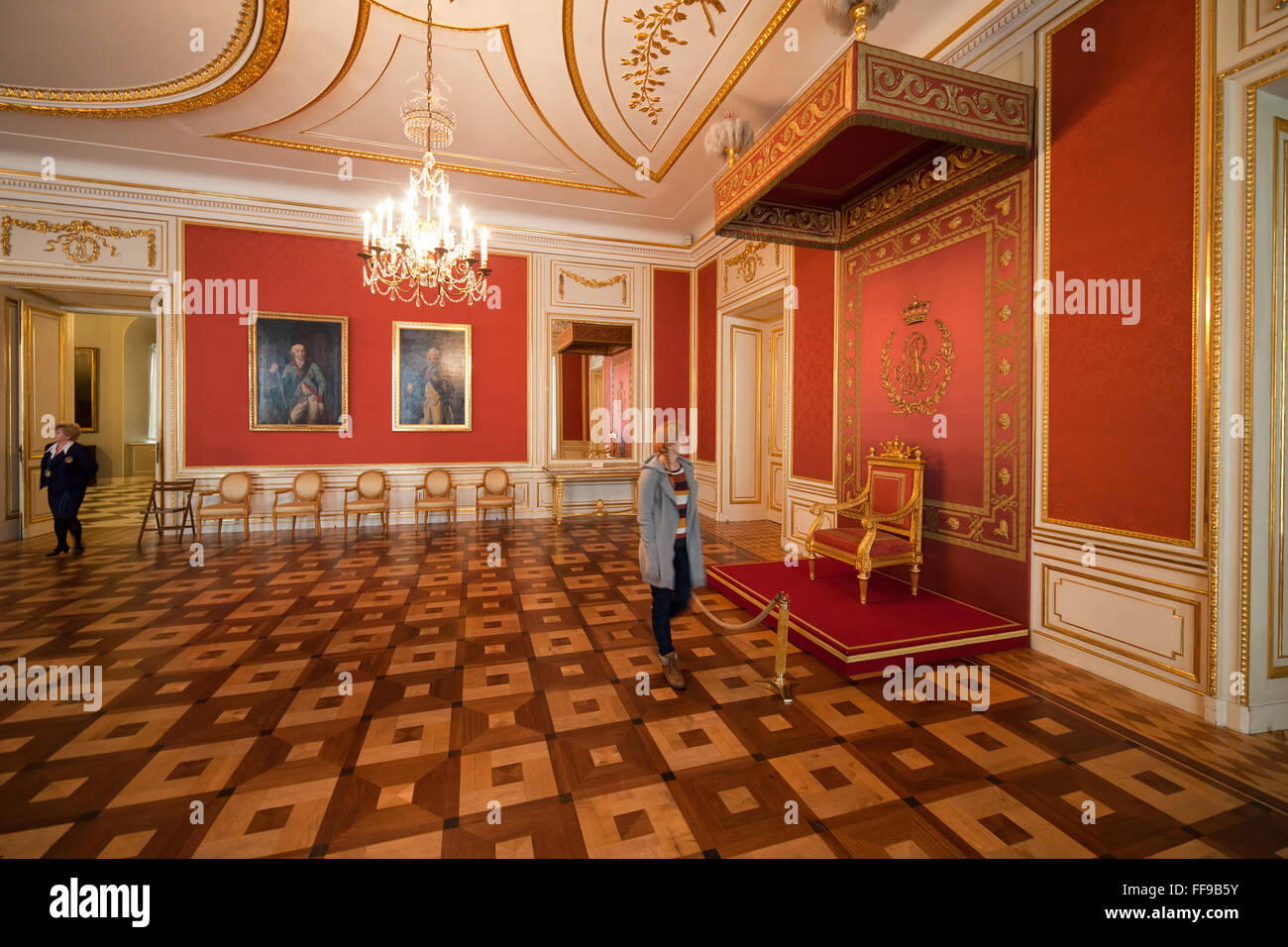 Poland, city of Warsaw, Royal Castle interior, throne in Council Chamber - Stock Image