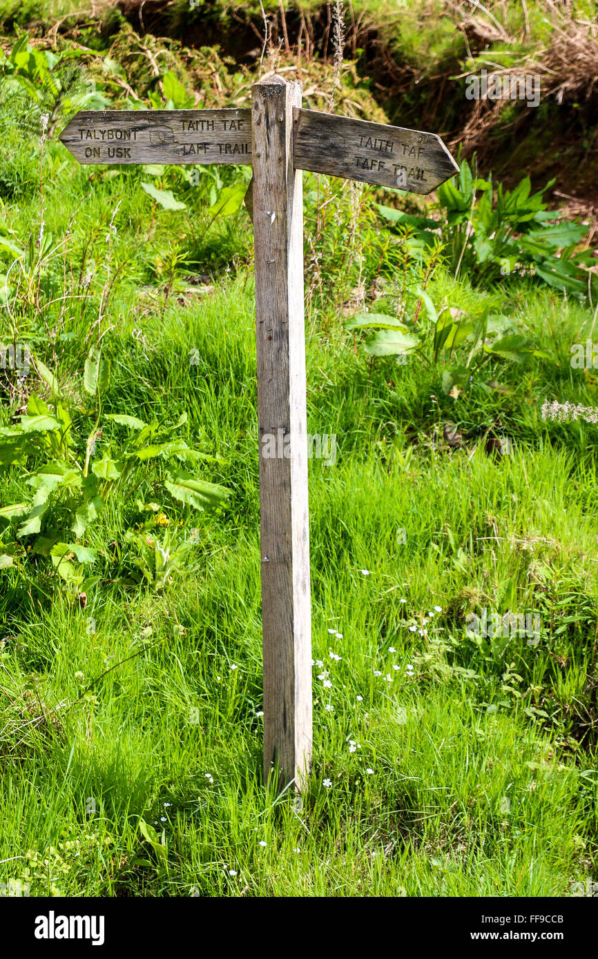 Wooden signpost in field, Talybont-on-Usk, Powys, Wales - Stock Image