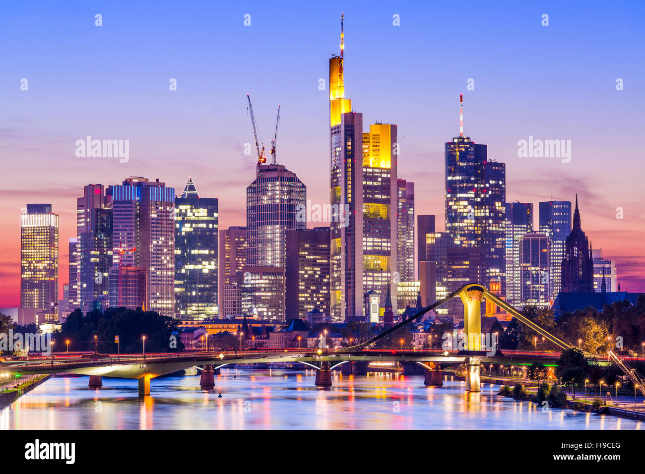 Frankfurt, Germany skyline on the Main River. Stock Photo