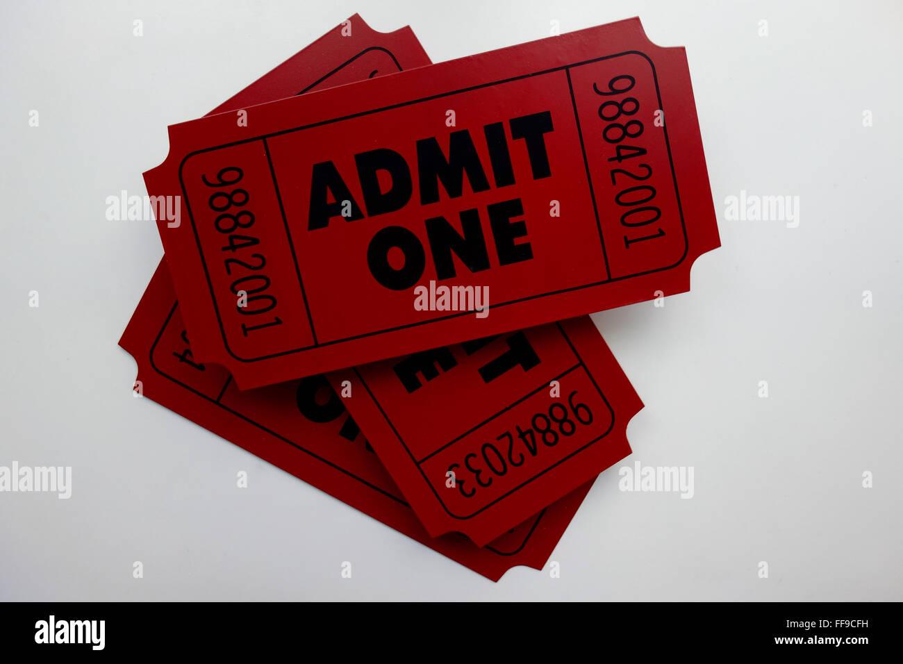 Admit One Ticket Stub - Stock Image
