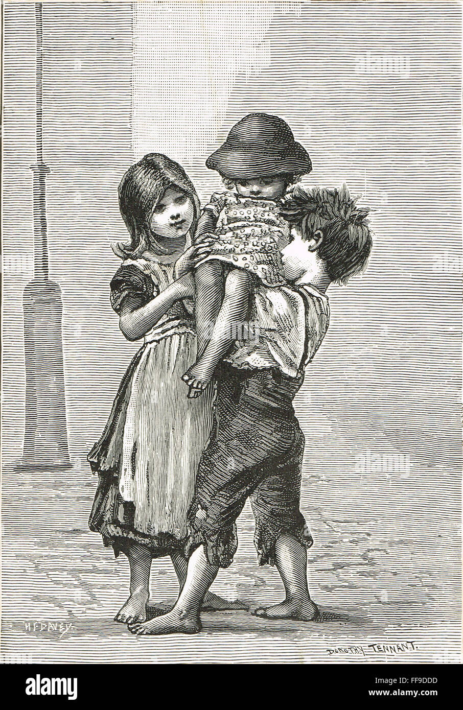 Victorian London Street Arabs looking after the youngest - Stock Image