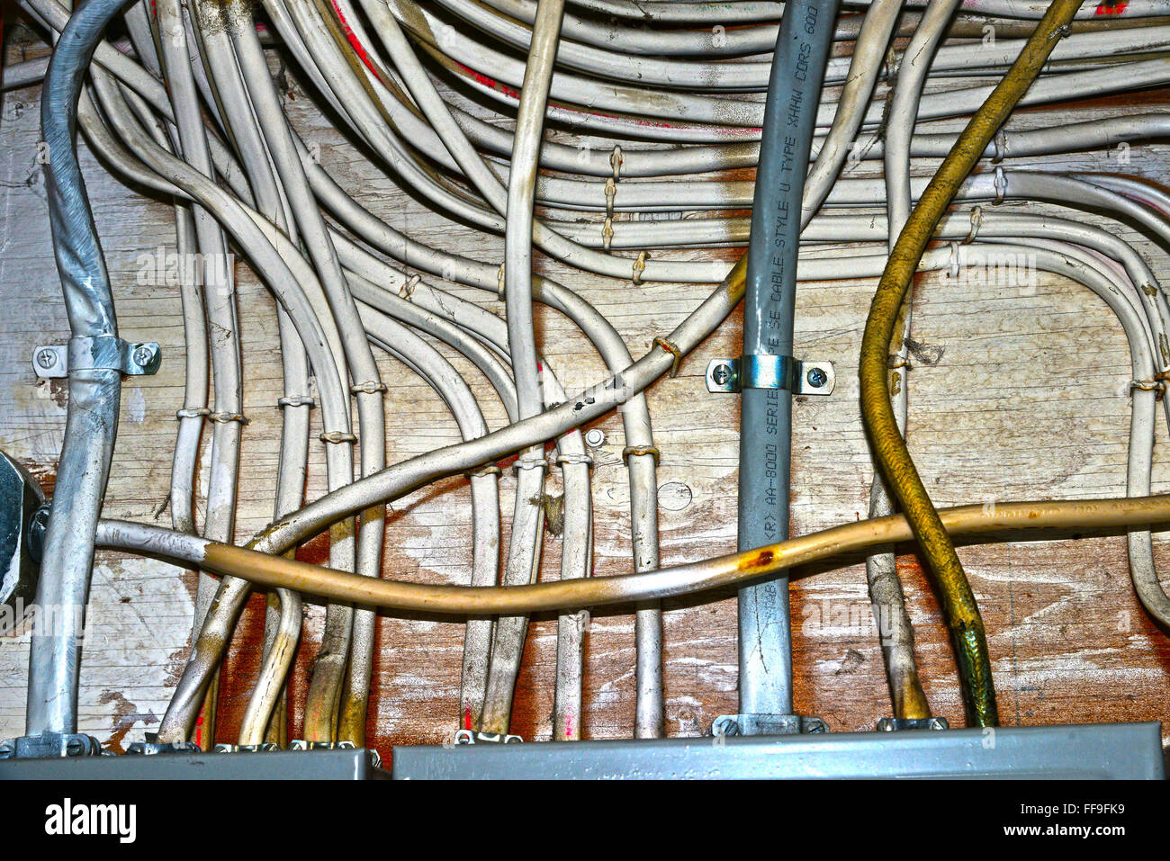 Wiring Electrical Stock Photos Images Alamy Copper Wire Xhhw And Power Boxes Image