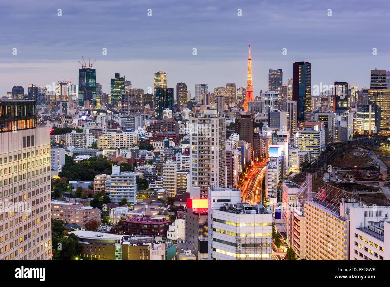 Tokyo, Japan cityscape towards Tokyo Tower. - Stock Image