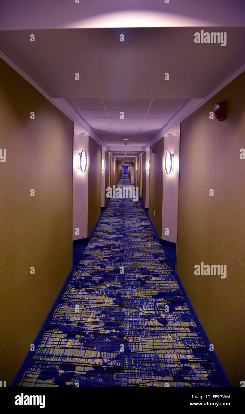 Hallway in a hotel - Stock Image