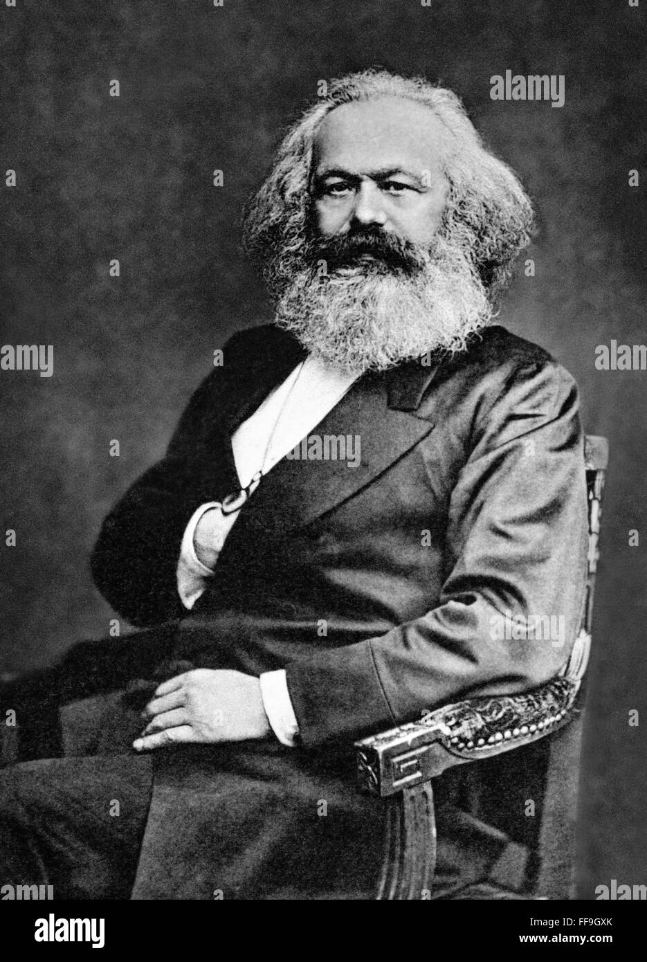 Karl Marx, the German born socialist philosopher, economist and writer. Photo c.1875 - Stock Image