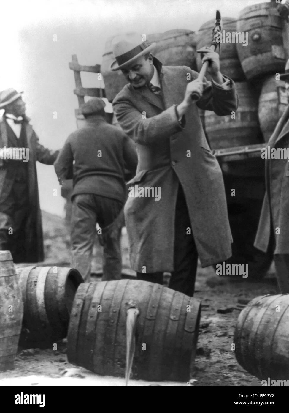 Prohibition, USA. Destroying kegs of beer, c.1924 - Stock Image
